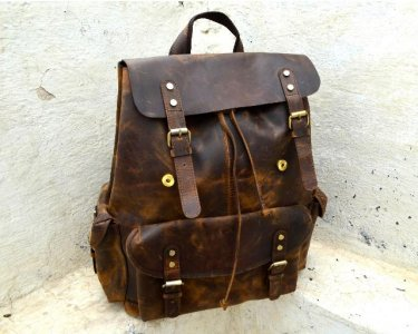 Genuine Handmade Leather Backpack, Travel, Hiking, Weekend Rucksack