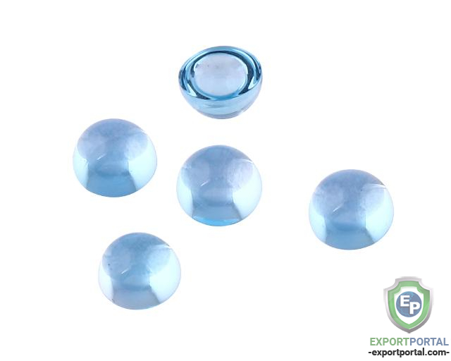 Sky Blue Topaz 4mm Round Cabochons (Pack of 10)