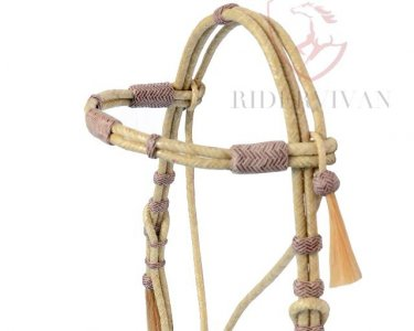 Natural Rawhide and Brown Knotted Headstall with Horse Hair Tassle.