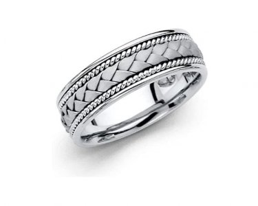 14k White Gold Men's Braided Classic Comfort Fit Wedding Ring