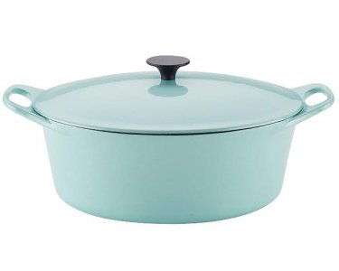 Covered Cast Iron Dutch Oven, Light Blue Shimmer