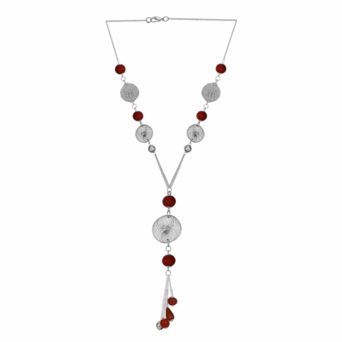 Mademoiselle Red Glass Bead and Metal Tassel Necklace