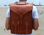Vintage style Genuine Leather Backpack for school and college